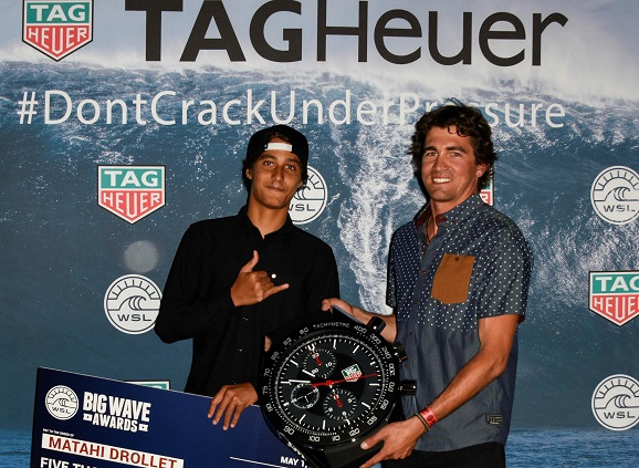 Big Wave icons Mahati Drollet (PYF) and Greg Long (USA) welcome Tag Heuer as the official timekeeper of the WSL Big Wave Tour.
